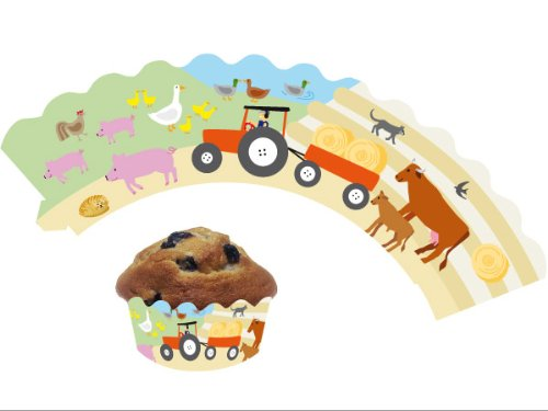 12 Bauernhof / Farm - Cupcake Deko Banderolen von DH-Konzept // Muffinförmchen Muffin Förmchen Kindergeburtstag Geburtstag Party Kuchen Tiere Bauer