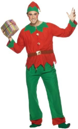 Smiffys Costume d'elfe, Rouge et vert, avec haut, pantalon et bonnet