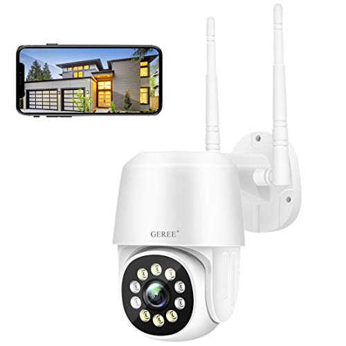 CCTV Camera Wireless Outdoor Wifi IP home security cameras 1080P Pan/Tilt 360° View with Night Vision, Waterproof,Smart Motion Tracking,iOS/Android Cloud Storage/Max 128G SD Card GEREE