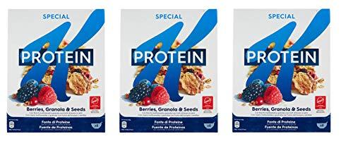 3x Kellogg's Special K Protein Frutti di Bosco Cereals Mehrkornflocken mit Beeren 320g Mehrkorn- und Weizenflocken Getreideflocken mit Hafer Roggen Samen und gefriergetrocknete Früchte