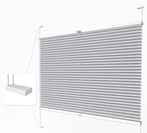 Home-Vision® Premium Plissee zum Anschrauben in der Glasleiste Innenrahmen (Silber, B80cm x H100cm) Blickdicht Plissee Jalousie mit Halterungen zum Bohren, Sonnenschutzrollo Rollo