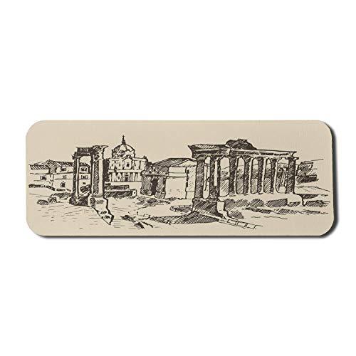 Italien Computer Mouse Pad, Ruinen des historischen Forum Romanum in Rom Italienisches Wahrzeichen Vintage Design Gravierte Skizze, Rechteck rutschfestes Gummi-Mauspad Großbeige Taupe