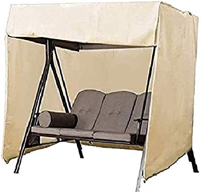 """Patio Swing Cover 3 Seater Waterproof Porch Swing Cover Hammock Swing Glider Canopy Replacement Cover Durable UV Resistant Weather Protector Outdoor Furniture Cover 87""""Lx49""""Wx67""""H (Beige)"""