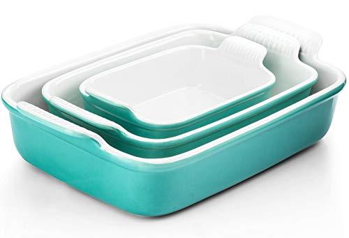 Porcelain Baking Dish, RAZCC Porcelain Bakeware Set, Rectangular Casserole Dish Set, Lasagna Pan, Baking Pans Set for Cooking, Cake Dinner, Kitchen, 9 x 13 Inches