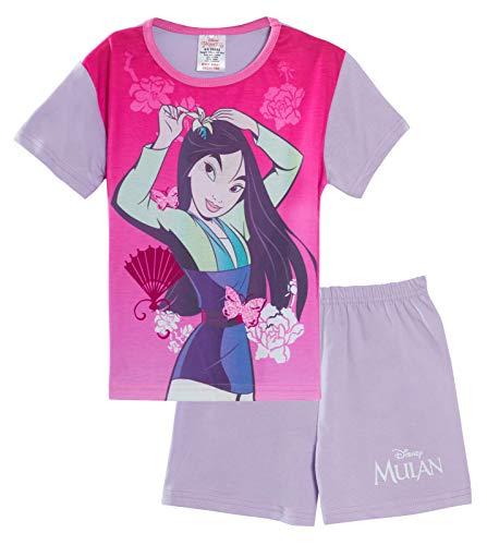 Disney Girls Mulan - Pigiama corto per bambini principessa Shortie Pjs Rosa/lilla. 9-10 Anni