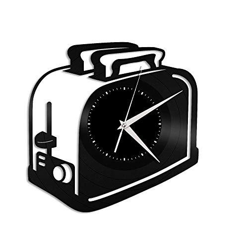 SKYTY Tostadora Reloj De Pared De Vinilo-Reloj De Pared con Disco De Vinilo Retro Registro Regalo Fresco Decoración para El Hogar-Sin Luz Led