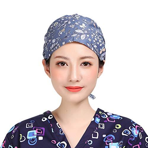 TENDYCOCO unisex work cap cotton babysbreath print Beauty hat for men women keep hair clean work cap