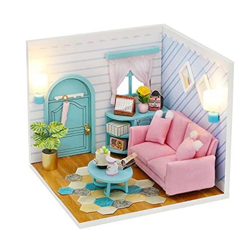 Casa de muñecas en miniatura con muebles, kit de casa de muñecas...