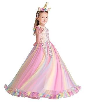 HOIZOSG Rainbow Tulle Dress Girls Unicorn Birthday Princess Party Prom Halloween Christmas Dance Ball Gown w/Headband Multicoloured 001 8-9T
