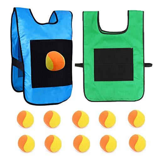 Knowing Chaleco de Velcro para Niños, 2 Piezas Chalecos de Juego de Dodgeball, con Bolas de Algodón de 10 Piezas, para Juegos de Actividades Infantiles al Aire Libre, Azul y Verde, 29 * 42,5cm