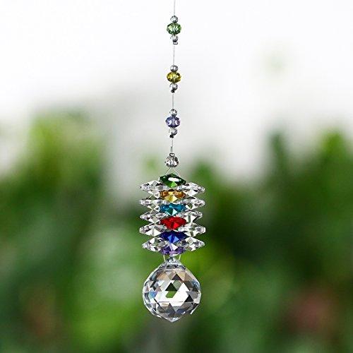 H&D zum Aufhängen Chakra Sonnenfänger Kronleuchter Kristalle Ball Fengshui Prismen Rainbow Anhänger Maker Auto Charme
