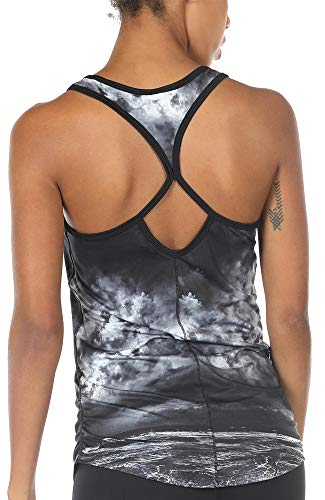 icyzone Damen Sport Yoga Tank Top - Fitness Gym Ärmelloses Shirt Trainings Top (L, Storm)
