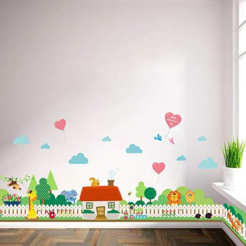QTYUE (42 * 126cm) warm huis plinten muur Stickers voor kinderen kamer badkamer kinderkamer Baseboard Vinyl Art Decals dieren hek muurschildering