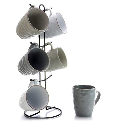 Elama Wave Series Mug Set 12oz Assorted Grey 2