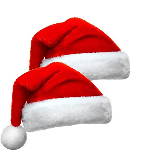 Christmas Hat,Santa Hat, 2 Sets Xmas Holiday Hat,Unisex Velvet Comfort Santa Hat Extra Thicken Classic Fur,for Christmas New Year Festive Holiday Party Supplies(There are Extra Gifts)