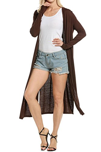 Corgy Women's Long Sleeve Knitwear Open Front Cardigan Sweaters Outerwear with Pocket Dark Brown S