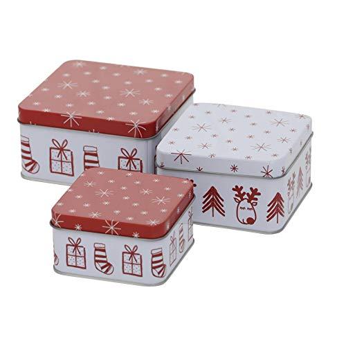CasaJame 3er Set Metall Keksdose Plätzchendose eckig Weihnachten Rentier rot weiß Sortiert H5-6cm