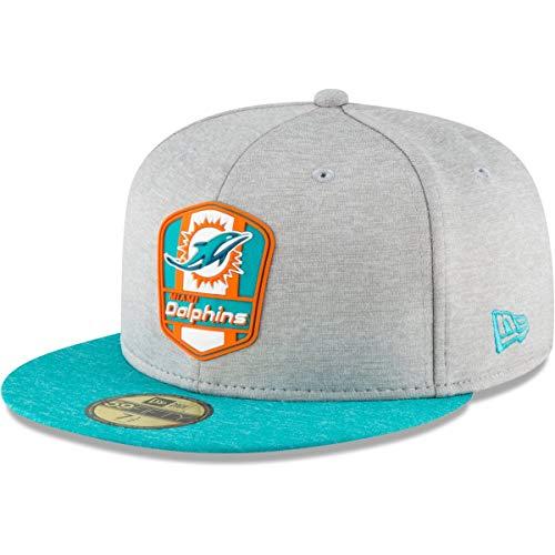 New Era Miami Dolphins 59fifty Basecap NFL 2018 Sideline Road Heather Grey - 7 1/8-57cm