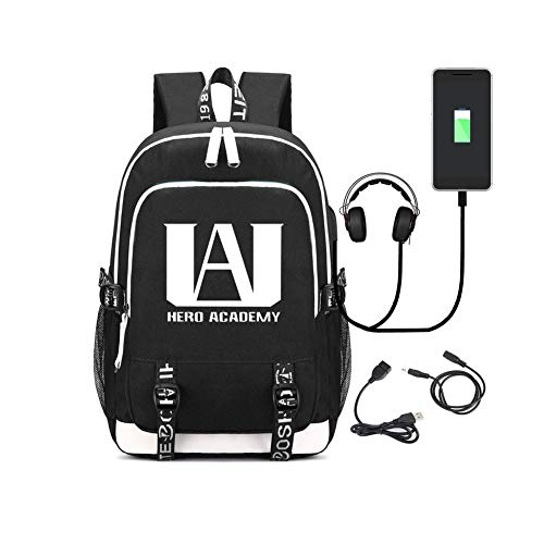 Mochila My Hero Academia 36L-55L Luminosa Niños Niñas 36~55L con USB Mochilas para Portátiles y Netbooks (Negro)