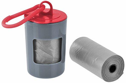 Fackelmann Hunde-Hygiene-Set CAT&DOG, Hygienebeutel-Spender aus Kunststoff, Hundekotbeutelspender inkl. 40 Beutel (Farbe: Grau/Rot), Menge: 1 Stück