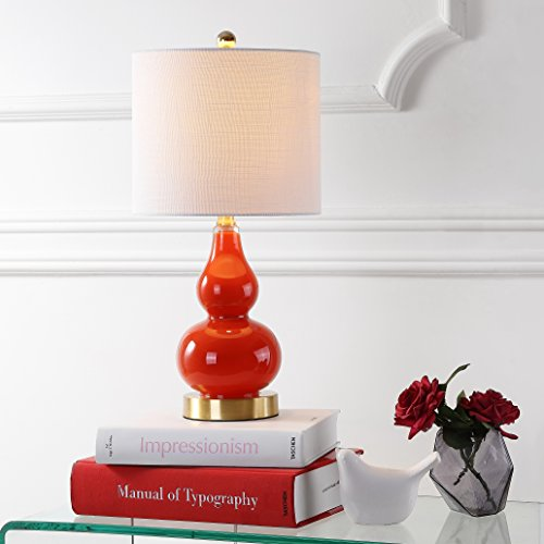 "JONATHAN Y JYL1028G Anya 20.5"" Mini Glass Table Lamp, Sunset Orange"