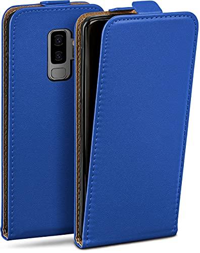 moex Flip Hülle für Samsung Galaxy S9 Plus - Hülle klappbar, 360 Grad Klapphülle aus Vegan Leder, Handytasche mit vertikaler Klappe, magnetisch - Dunkelblau