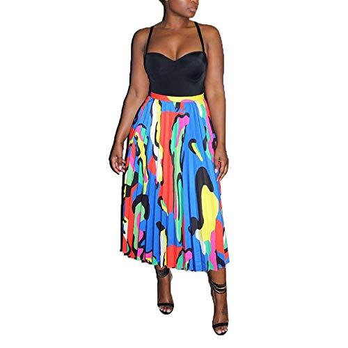 Faldas Plisadas de Graffiti para Mujer Falda Larga de Verano con Estampado de Bloque de Color de Dibujos Animados Falda Larga de Verano de una línea