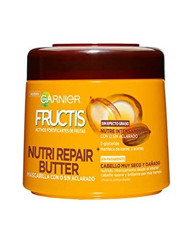 Garnier Fructis Nutri Repair Butter Mascarilla Fortificante que Nutre y Suaviza, con 3-Glyceride, Manteca de Karité y 3 Aceites - 300 ml