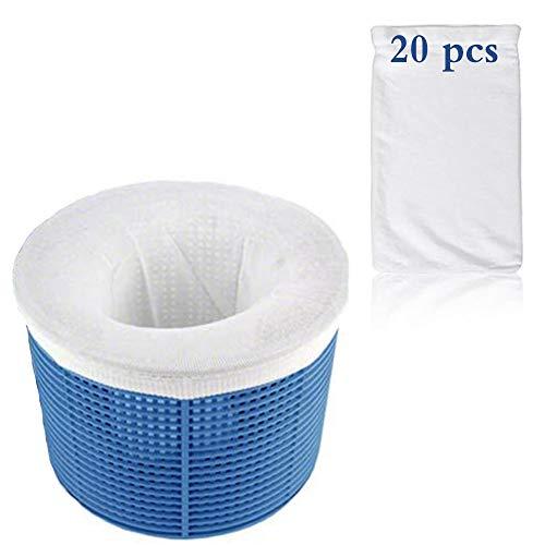 KRIS Pool Skimmer Socken,Körbe und Skimmer,Pool Skimmer Filter,Pool Skimmer Net,Filter Skimmer,Schwimmbad Skimmer,Skimmer,der Wegwerf-Feinfilter für Ihren Skimmerkorb, Weiß(20 Pcs)