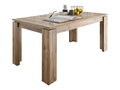 trendteam smart living Esszimmer Küchentisch, Esstisch Universal in Wotan Eiche mit Ausziehfunktion, Holzwerkstoff, Nussbaum Satin, 160 x 77 x 90 cm