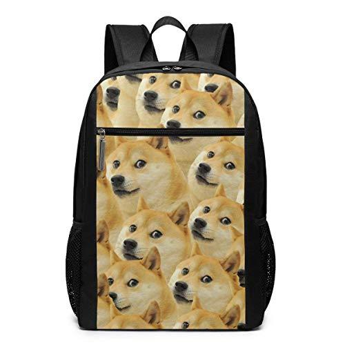 Deglogse Mochila Escolar, Mochila de Viaje Mochila, Doge Meme Laptop Computer Backpack 17 Inch Stylish Casual Business Daypack Laptop Bag for Women Men