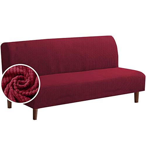 laamei Funda Sofa Cama sin Brazos Clic Clac Elastica Cubre Protector Sofá 3 plazas Extensible Plegable Universal Funda De Reposabrazos para Sofá Cama (Jacquard#Vino Rojo,185-215cm)