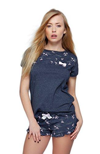 SENSIS stillvoller Baumwoll-Shorty Pyjama Hausanzug aus stylischem Shirt und Karierten Shorts, Made in EU (M (38), dunkelblau mit Flamingos)