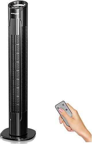 50W Multi Touch Display Turmventilator extrem leise mit Fernbedienung zur Kühlung mit Zeitschaltuhr | Deutsche Qualitätsmarke| 78cm Säulenventilator sehr leise + 3 Stufen | RelaxxNow VTX400 Ventilator