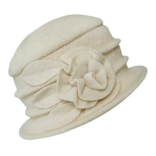 Urban GoCo Lana Cloche Sombreros Gorras para Mujer Vintage Floral Trimmed Sombreros de Invierno