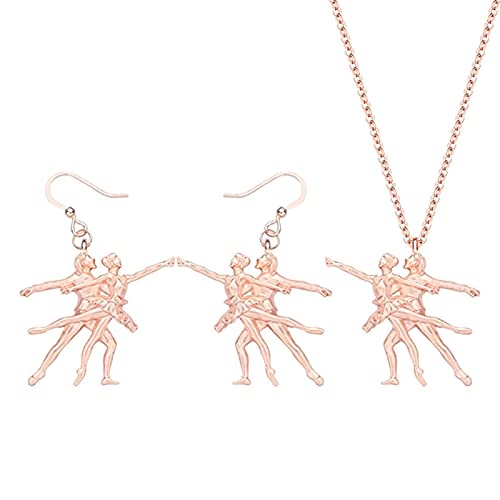 Collar de aleación chapado en oro Conjuntos de joyas de bailarina de ballet Pendientes mentales largos Collar para dama niñas Decoración de regalo de moda Collares de mujer Hyococ (Color: C)
