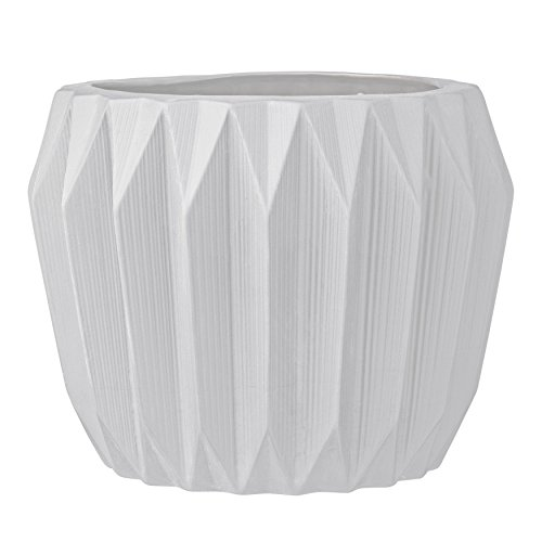 Bloomingville Round Fluted Ceramic Flower Pot, 8 Inch x 6 Inch, White