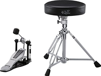 Roland Dap-3X Essential V-Drums Accessories, Includes A Pair of Hickory-Made Drumsticks, A Kick Pedal with New EmBOSSed Roland Logo Footplate, And A Drum Throne with Double-Braced Tripod from Roland