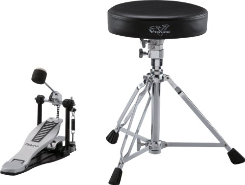 Roland Dap-3X Essential V-Drums Accessories, Includes A Pair of Hickory-Made Drumsticks, A Kick Pedal with New EmBOSSed Roland Logo Footplate, And A Drum Throne with Double-Braced Tripod