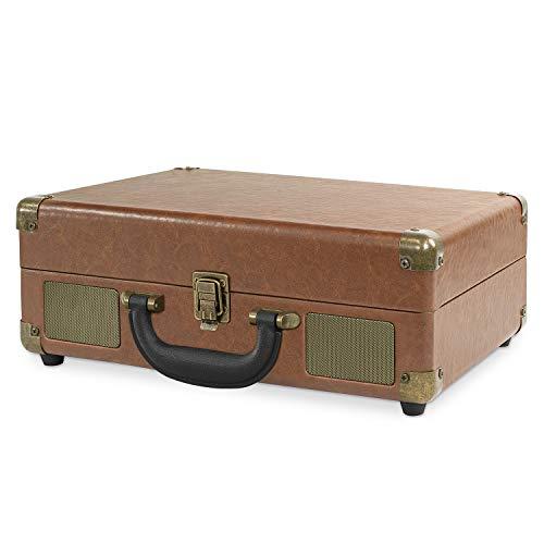 Victrola VSC-550-LBR Vintage Portable Suitcase Turntable (Brown)