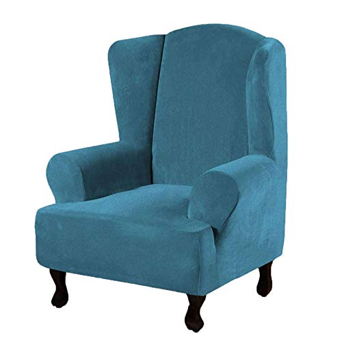 SINKITA Samt Ohrensessel,Stretch Ohrensessel Schonbezug Elastische Möbelbezug Haustiere Hund Einfarbig Spandex Plüsch-Blau-Ohrensessel