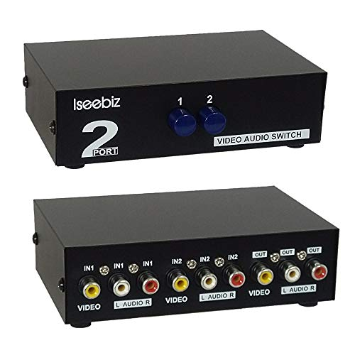 Iseebiz AV切替器 オーディオ・ビデオ切替器 機械式・電源不要 双方向 2入力1出力/1入力2出力 金属殻 静電/干渉防止