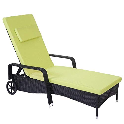 ALL-JingHong Sonnenliege verstellbar Poly-Rattan Naturbelassen Wellnessliege mit er Rückenlehne erhältlich Grün JH-097
