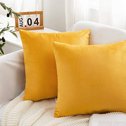 AYSW Velvet Cushion Cover 2 pack 45x45cm Decorative Square Throw Pillowcases for Living room Sofa Bedroom with Invisible Zipper 18x18 inch 2 Pieces Yellow