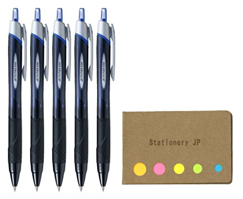 Uni-ball Jetstream Retractable Ballpoint Pen, Ultra Micro Point 0.38mm, Blue Ink, 5-Pack, Sticky Notes Value Set