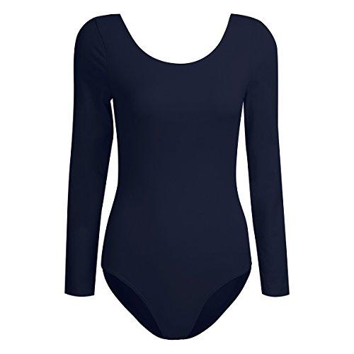 iEFiEL Damen Ballett Trikot Tanz Kleidung Langarm Body Bodysuit Overalll Ballettanzug Gymnastikanzug (Marineblau, XL)