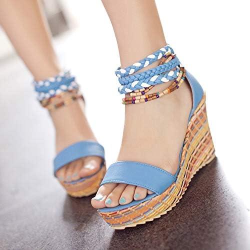 HOESCZS Talons Hauts Main Confortable Bohème Perles Perlées Bride à La Cheville Sandales Compensées Grande Taille Chaussures pour Femmes