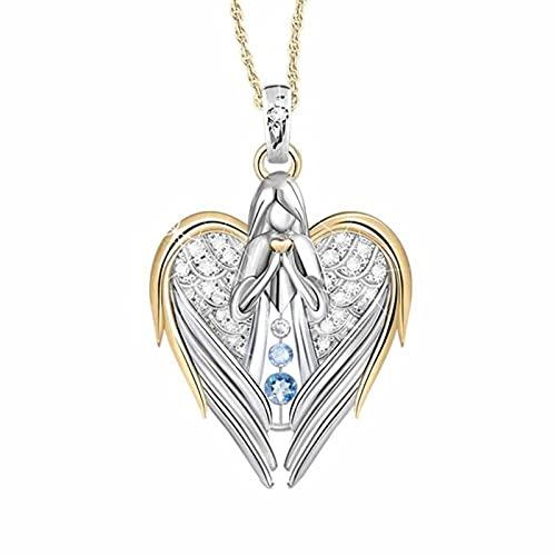 collar Oro Plata Cristal Diamantes De Imitación Diseño En Forma De Corazón Alas De Ángel Suéter Cadena Colgantes Collares Para Mujeres Ángulo Chica Regalo
