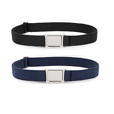 JASGOOD Kids Adjustable Magnetic Belt Boys Girls Elastic Belt with Easy Magnetic Buckle (Black+Blue,Pant Size16-26Inch)
