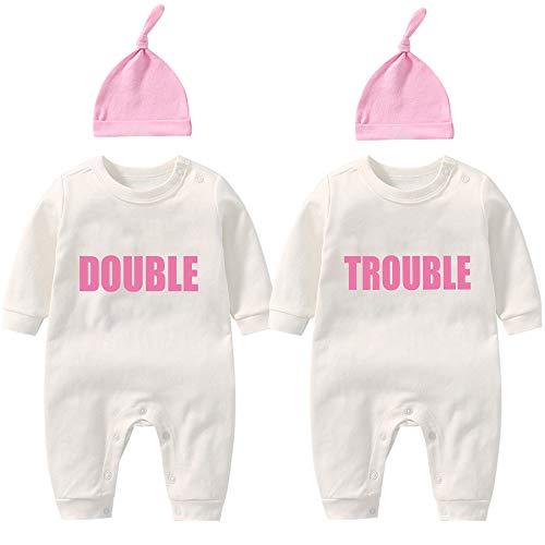 AOUYOA Baby Twins Body para recién nacido, traje de bebé divertido doble problema conjunto de ropa con sombrero